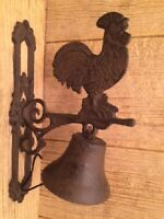 Cast Iron Rooster Door Bell Vintage Style Wall Mounted 0170-02123