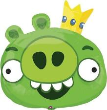 Green King Pig Angry Birds Birthday Party Decoration SuperShape Mylar Balloon