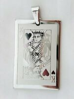 Stainless Steel KING Playing Card Poker Game Gambling Gaming Lucky Charm Pendant
