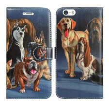 Leather Wallet Flip Book Phone Card Holder Pouch Fone Case for Apple iPhone 5 5g Dog Family - Many Dogs Group Lots Friends Wildlife