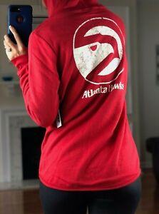NBA Atlanta Hawks Full Zip Terry Hoodie, Front & Back Printed, Red, Women's S