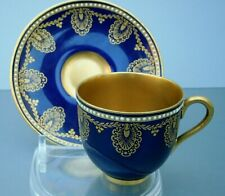 Superb Antique Royal Worcester Beaded Coffee Cup & Saucer, Richly Gilded on Blue