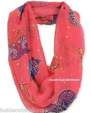 Laurel Burch Infinity Neck Scarf Cat Feline Face Fuchsia Pink Retired ALMOSTgone