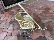 Vintage Antique Wrought Metal Woven Reed Baby Doll Stroller Carriage Buggy