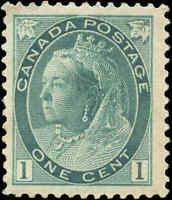 1898 Mint H Canada F-VF Scott #75 1c Queen Victoria Numeral Issue Stamp