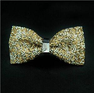 Mens Luxury Shining Crystals Bowtie Rhinestone Wedding Party Noble Bow Ties