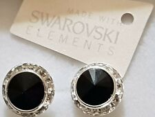 Genuine Swarovski Elements Jet Black Crystal Stud Earrings 13mm Gift Bag