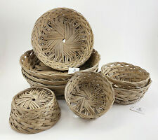 Hand Made Philippine Natural Coco Midrib Round Gift Baskets, Bread Roll Baskets