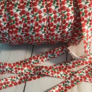 "Cherries 5/8"" Fold Over Elastic Ribbon FOE 3 Yard Roll"
