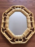 "Homco WALL MIRROR Wicker Bamboo PLASTIC Tan Yellow 17 1/4"" x 14"" Home Interiors"