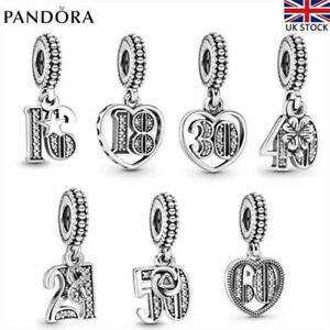 Dangle Genuine Pandora Charm Love Anniversary Pendant Birthday With Gift Box Bag