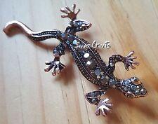 Antique Vintage Lizard Gecko Rhinestone Crystal Gem Brooch Pin Fashion Jewellery