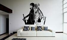 Wall Vinyl Sticker Decal Anime Manga SAO Kirito Asuna Sword Art Online VY109