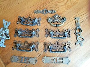 VICTORIAN/ART NOUVEAU BRASS DRAWER HANDLES and Plates x 11 with reg marks