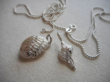 """Sterling Silver 2 Seashell Pendants 30"""" Chain Necklace   312019"""