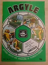 Plymouth v Lincoln programme 1977-78