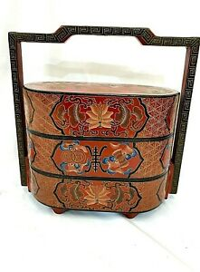 VINTAGE CHINESE HAND PAINTED LACQUER BOX