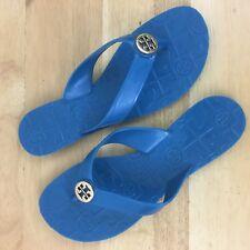 Michael Kors MK Jelly Sandals Flip Flop Blue Gold Logo Sandals Comfortable Sz 7M