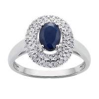 White Gold Genuine Oval Sapphire & Double Halo Diamond Ring