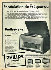 D- Publicité Advertising 1958 Le radiphono am/fm Philips Novofonic