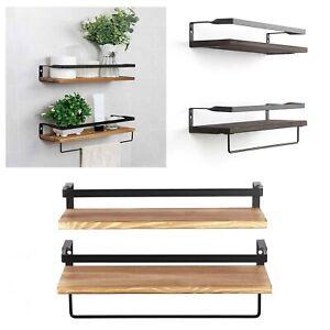 Set of 2 Rustic Floating Shelves Wall Mounted Wood Shelf Metal Display Rack new