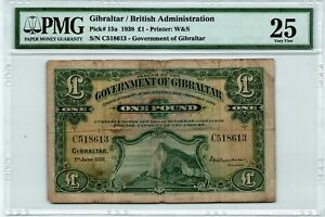 Gibraltar, British Administration 1 Pound 1938 Pick# 15a PMG 25 Banknote
