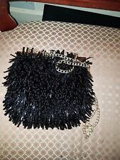 forever unique ladies black evening bag with sequins and gold chain