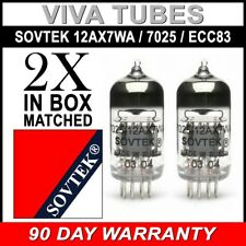 Gain Matched Pair (2) Sovtek 12AX7WA 7025 ECC83 Vacuum Tubes - Brand New