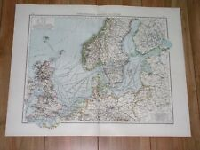 1896 ANTIQUE MAP OF BALTIC SEA NORTH SEA GERMANY POLAND RUSSIA ENGLAND ESTONIA
