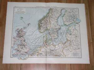 1896 ANTIQUE MAP OF BALTIC SEA NORTH SEA GERMANY POLAND RUSSIA ENGLAND ESTONIA