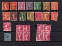 France :16 timbres semeuses + 2 blocs de 4 neufs **