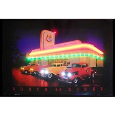 """Route 66 Diner Neon Sign Led Picture 36""""x24"""""""