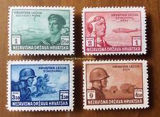 EBS Croatia Hrvatska NDH 1943 Croatian Legion set Michel No 107-110 Mint Hinged*