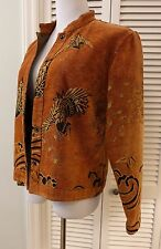 M Citron Santa Monica Collection Tapestry Jacket Rust with Swans Birds Oriental