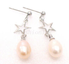 Girl New Fresh Water White Pearl Drop Flowergirl Star Dangle Earrings Xmas Party
