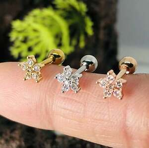 16G Crystal Flower Stud Barbell Cartilage Piercing Conch Helix Tragus Earring
