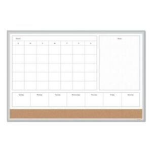Smead 3891U00-01 4n1 Magnetic Dry Erase Combo Board, 36 X 24, White/natural