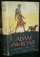 SIGNED, 1942, NEWBERY MEDAL WINNER, 1st, ADAM OF THE ROAD, ELIZABETH JANET GRAY