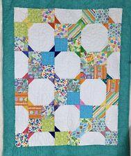 Small handmade patchwork quilt lap throw blue green orange white 46 x 38 pretty