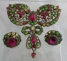 WOW!! Old Hobe Sterling Gold Wash Filigree Jeweled Large Pin Brooch&Earrings Set