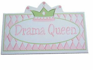 NEW Pink & Green Drama Queen Crown Wall Plaque Hanging Girl's Room Decor Sign
