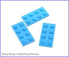 Lego 3 x Platte (2 x 4) - 3020 hellblau - Medium Blue Plate - NEU / NEW