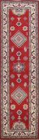 "RED/ IVORY Geometric 10 ft. Super Kazak Oriental Runner Rug Wool 9' 11"" x 2' 8"""