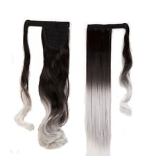 Long Real Ponytail Clip In Hair Extension Ombre Mix Wrap On Fake Hair Blonde Pdc