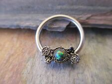 Steampunk Gears Lab Opal Made with Swarovski Captive Ring Septum Helix