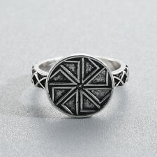 Slavic Men's Rings Kolovrat Pagan Jewelry Simple Rune Signet Talisman Bague Ring