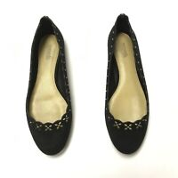 MICHAEL Michael Kors Thalia Black Suede Floral Perforated Studded Ballet Flats