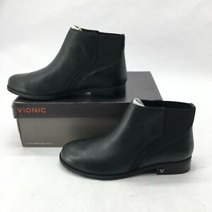 NEW Vionic Country Thatcher Chelsea Ankle Boots Womens 9 Slip On Leather Black