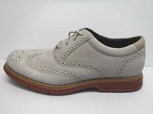 Rockport Size 8 Gray Leather Wing Tip Oxfords New Mens Shoes
