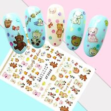 Nail Art Stickers Transfers 3D Self Adhesive Teddy Bears (XF3068)